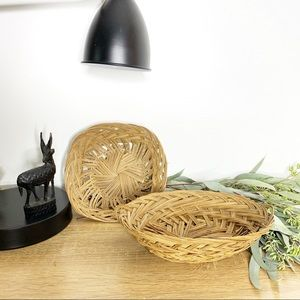 Other - Set of 2 Brown Woven Baskets | Square & Oval Shape